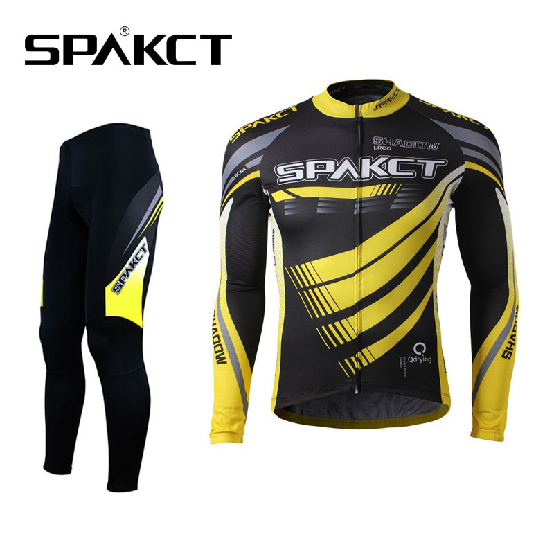 High Quality! SPAKCT Cycling Bike Suit Long Sleeve Jersey Shirts+Long Pants Outdoor Sports Bicycle Clothing Men Quick Dry