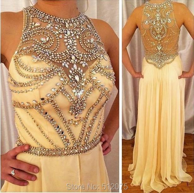 Ivory Chiffon Halter Sleeveless Formal Dresses Long Crystals Beaded 2015 Women Evening Dresses High Neck Vestido De Festa Z60506(China (Mainland))