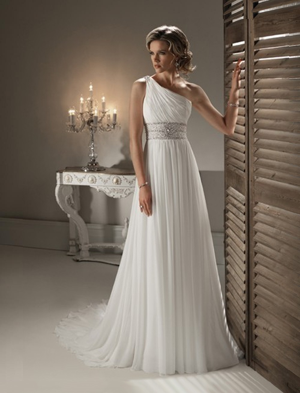 one shoulder 2016 white chiffon summer bridal gowns beads