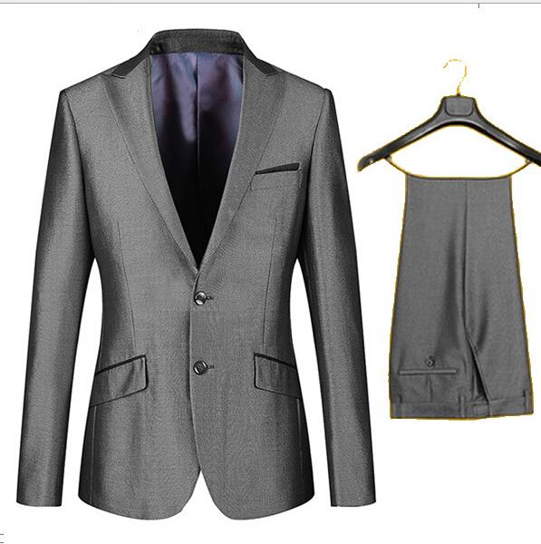 2015 new men fashion groom tuxedo high quality male wedding party wear grey silver brand suits set blazer jacket S-5XL 8 size(China (Mainland))