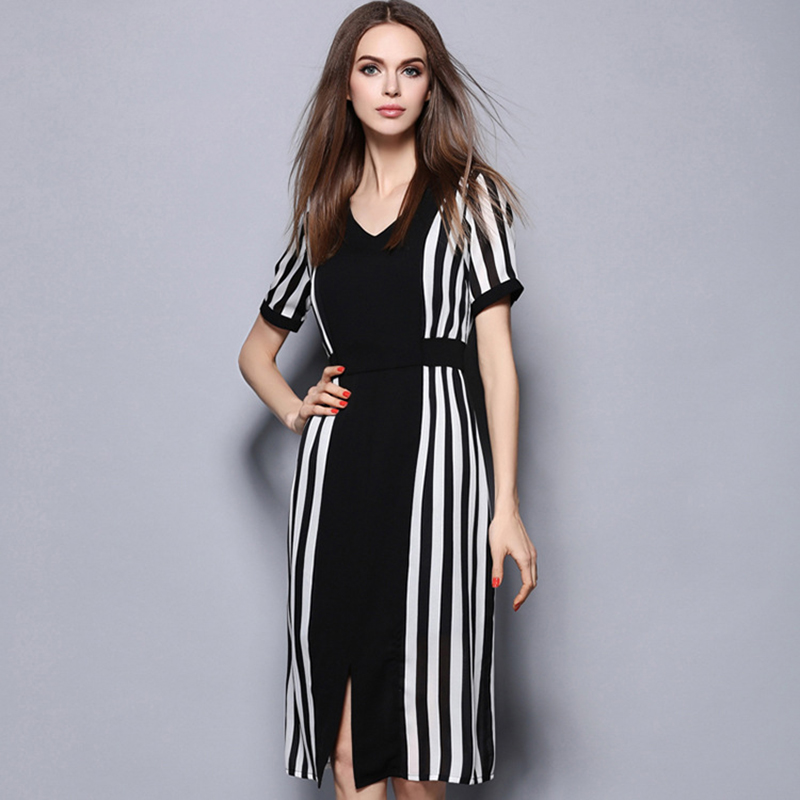 Msguide Womens Elegant Summer Sexy Front Slit Striped Patchwork Contrast Colorblock Slim Casual Party Skater A-Line Dress 6154(China (Mainland))