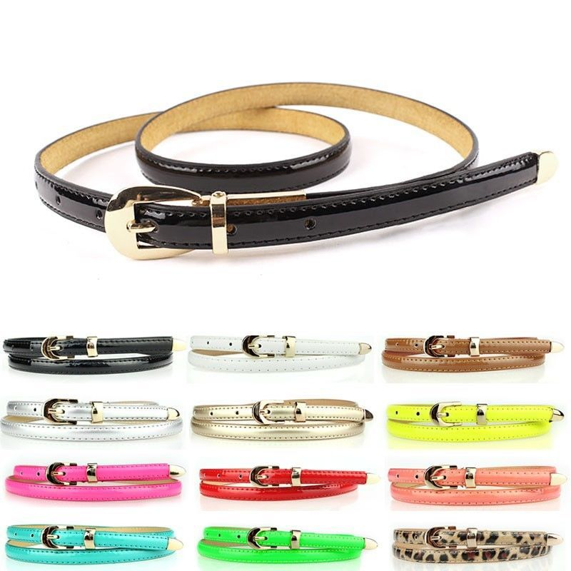 Fashion Use 12 Colors Women Candy Color Narrow Thin Skinny Waist Belt Pu Leather Waistband Y1 - Best Seller Shop store