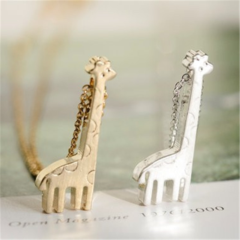Fashion new style 18k gold plated silver cute giraffe Necklace Pendant Necklace for women(China (Mainland))