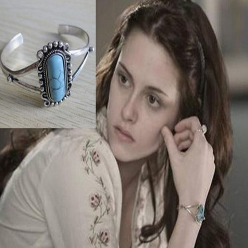 2014 New Arrival Movie Twilight Bella Bangle Vintage Silver Plated Natural Turquoise Alloy Bracelet For Women(China (Mainland))