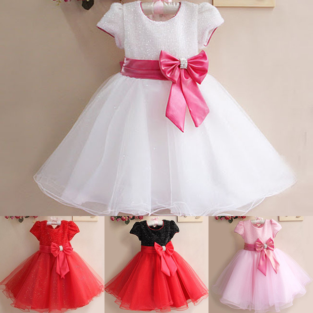 [해외] Christmas Girls Dress RedBow Princess tutu Dress ..