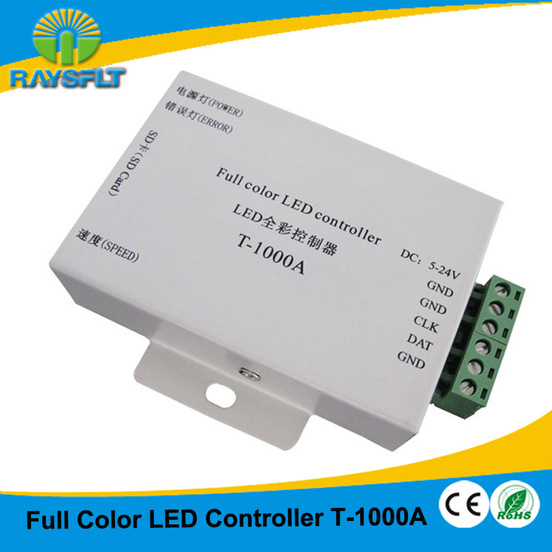 T-1000A sd card led pixel RGB controller for WS2801 WS2811 LPD6803 DMX512 AC DC 5-24V input IC controller(China (Mainland))