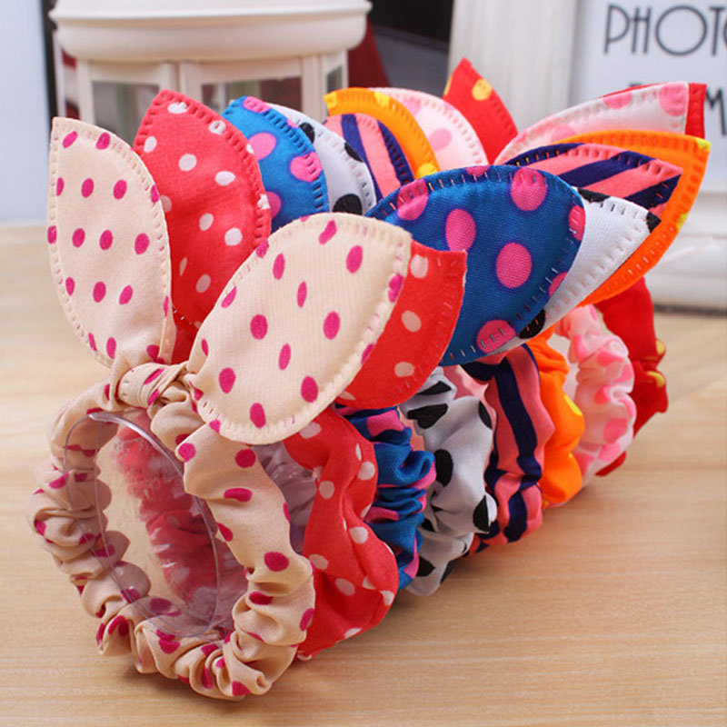 10 Pcs/a lot Mix Wholesale Hot New Arrive New Cute Dot Fabric Rabbit Ear Girls Woman Hairbands Hair rope for women Accessories(China (Mainland))