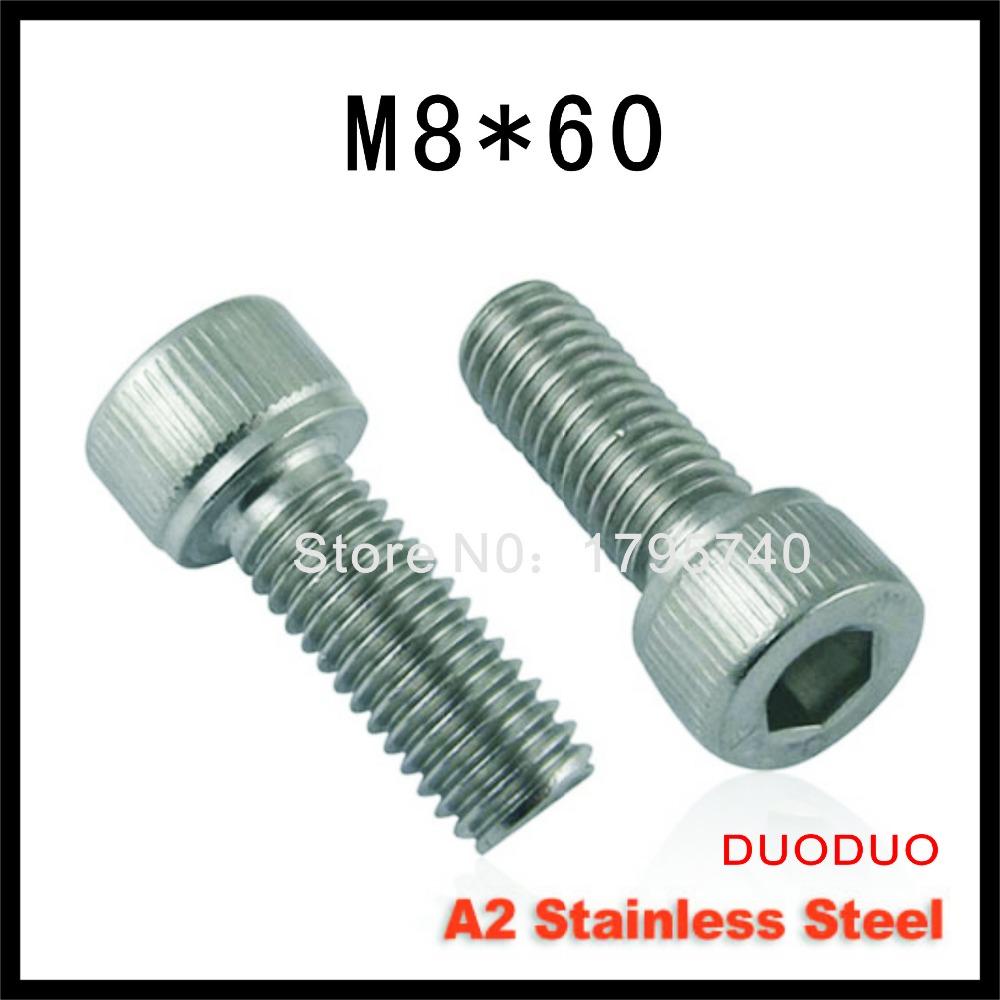 2pc DIN912 M8 x 60 Screw Stainless Steel A2 Hexagon Hex Socket Head Cap Screws<br><br>Aliexpress