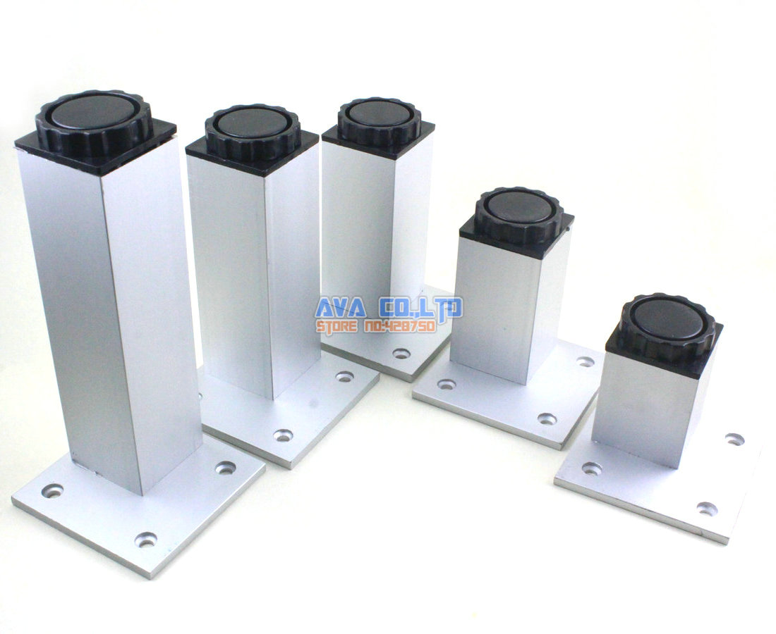 4 Pieces 100mm Adjustable Aluminum Square Furniture Cabinet Leg Cupboard Table Feet(China (Mainland))