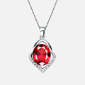 49 Off Ruby Gourd Pendants Women s Necklace Crystal Jewelry Mother Day Gifts Silver Suspension Collar