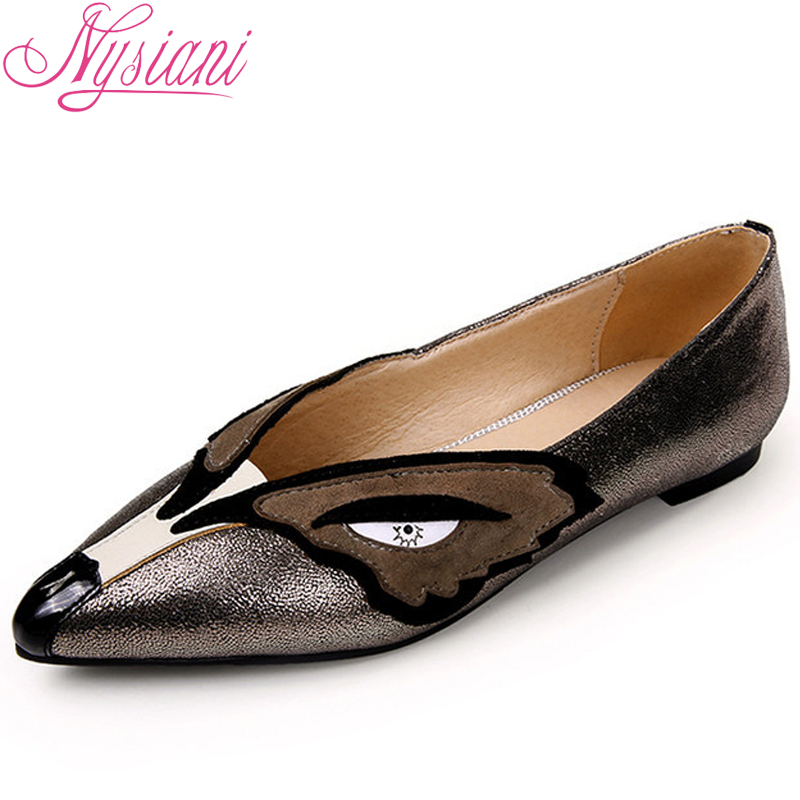 Nysiani Genuine Leather Women Shoes Pointed Toe Low Heel Ballet Flats 2016 Summer Style Mixed Color Soft Leisure Zapatos Mujer(China (Mainland))
