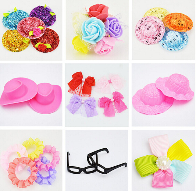 Girls Toy Variety design Wholesale 100pcs/lot Beautiful Bowknot Hat Glasses Accessory For Dolls(China (Mainland))