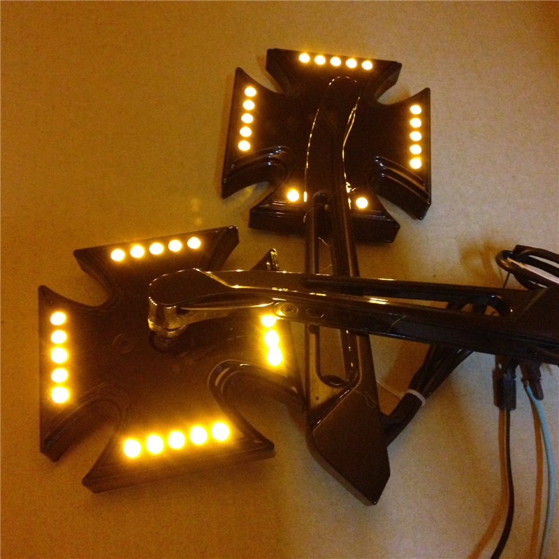 Aftermarket free shipping motorcycle parts Custom LED turn siganl integrated mirror Black