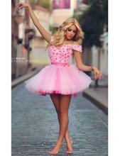 Off Shoulder A-Line Fuchsia Short Cocktail Dresses Formal Above Knee Tulle Appliqued Cocktail Party Dress(China (Mainland))