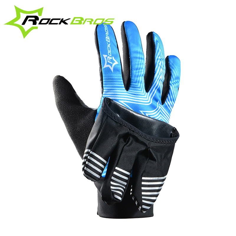 RockBros 2 Modes Bike Bicycle Winter Waterproof Touch Screen Fleece Warm Gloves Guantes Windproof Wind Cover Professional Gloves(China (Mainland))