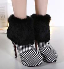 2016 Mujeres Del Invierno Botas de Algodón barato de Moda Botas de Tacón Alto Tobillo zapatos de Mujer Real de Piel de Conejo Botas Cortas Nieve Bombas C276(China (Mainland))