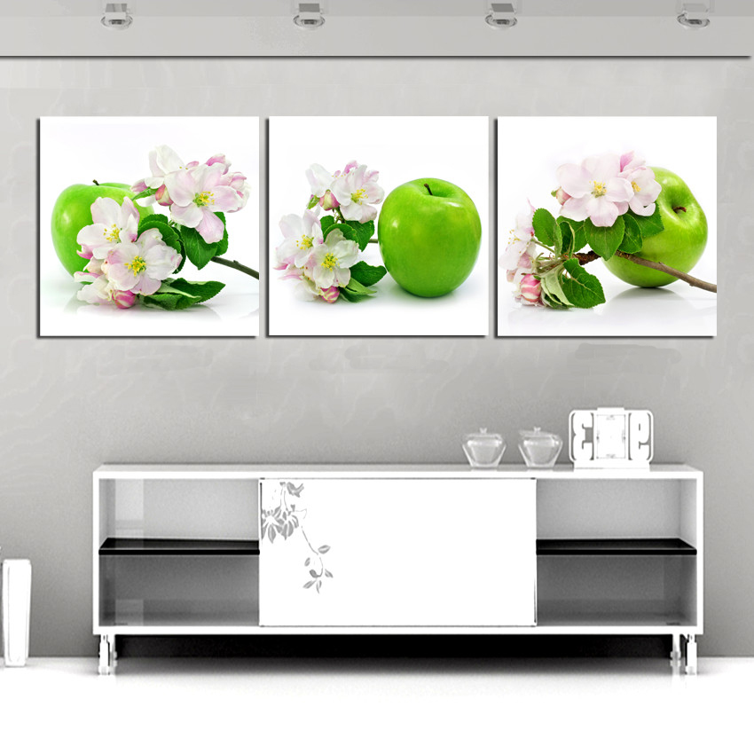 Compare prices on green apple paintings online shopping for Kitchen cabinets lowes with three piece canvas wall art