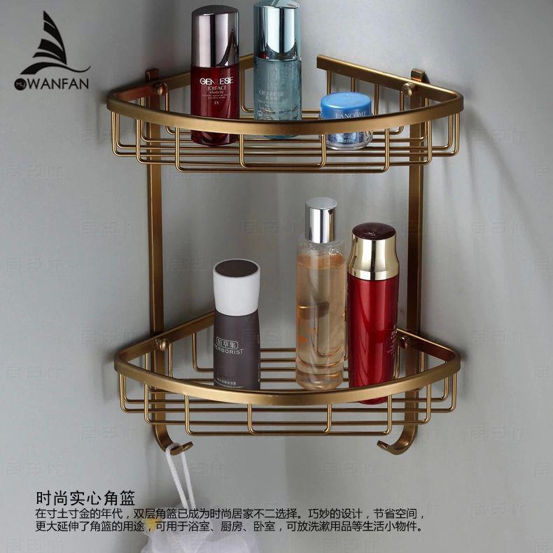 Wall Mounted Antique finish NEW aluminum Bathroom Shower shampoo Shelf Basket Holder Fashion Double Layer MJ-7011(China (Mainland))