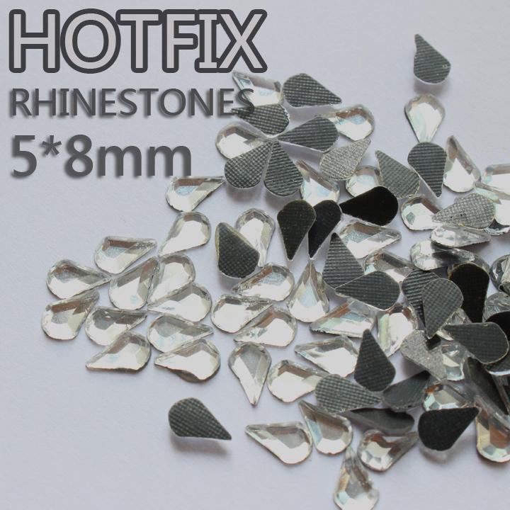Promotion Strass glass beads 260pcs 5x8mm tear drop crytsal DMC hotfix glue on flatback rhinestones use for garment YrhSdCr(China (Mainland))