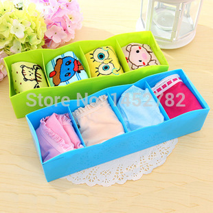 Free Shipping 1PC Candy Color Four Frame Multi-purpose Storage Box To Underwear Plastic Storage Box(China (Mainland))