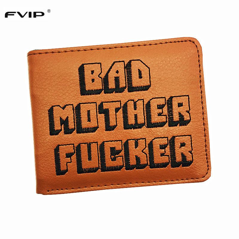 FVIP Cool Brown Purse Bad Mother F*cker Wallet With Card Holder Men's Wallets Bolsos Mujer Popular Dropshipping(China (Mainland))