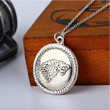 wholesale 20pcs/lot antique silver Game of Thrones House Stark Necklace Winter Is Coming Wolf Head pendant Necklace(China (Mainland))