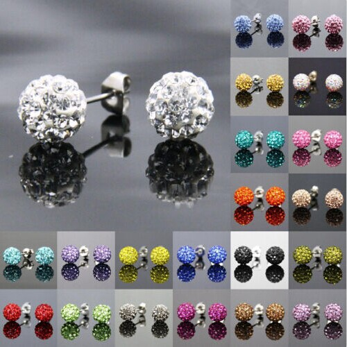 Free Shipping 19 Color 10MM Trendy Brand Earrings Top Quality Ball Crystal Stud Earring For Women