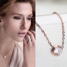 2016 Hot Sale Sparkling AAA Cz Pendant Necklace in 18k Rose Gold Plated Fashion Titanium Steel Long Simple Necklaces for Women(China (Mainland))