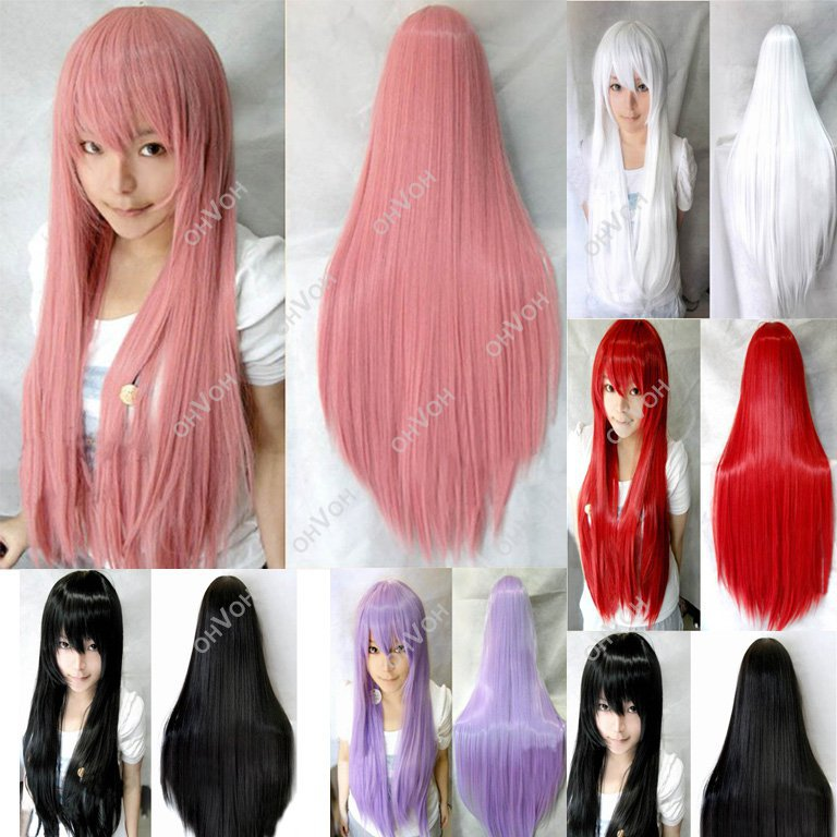 Women Girls Long Full Hair Straight Wigs Anime Cosplay Costume Party - Top-Rated r & Dropshipper Shop store