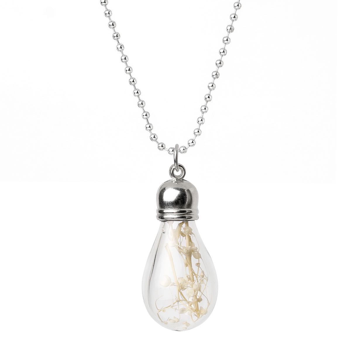 glass bottle necklace chain silver tone white flower