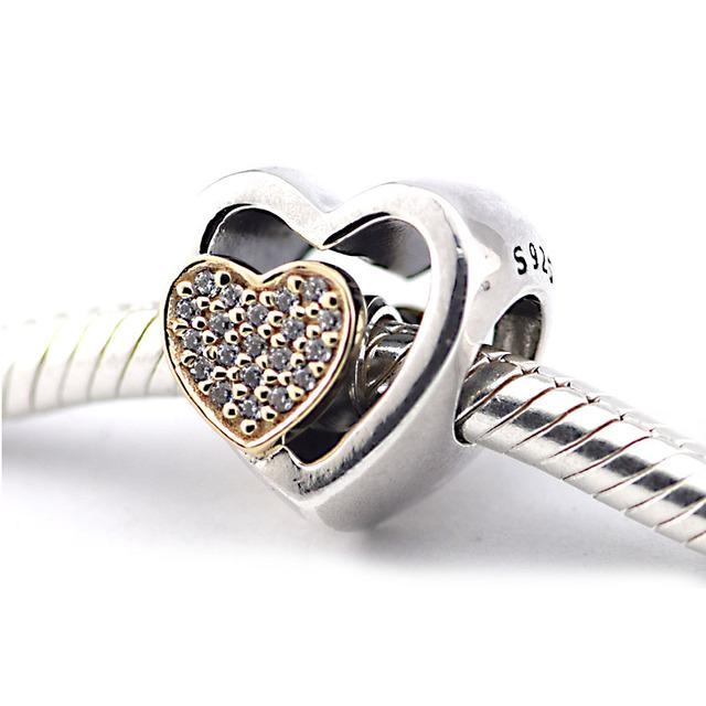 14 К золото объединились в форме сердца бусины 925 серебряные ювелирные изделия бусины Fit пандора браслет DIY мода ювелирных изделий