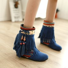 2016 Women boots Winter boots for women shoes Tassel Rubber boots Within the higher 4.5CM Brown/Black/Blue Suede Nubuck Leather(China (Mainland))