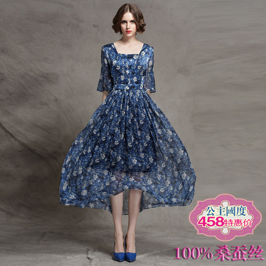 On behalf of a new original heavy silk silk flower waist dress dress big swing