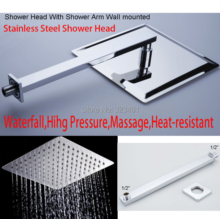8 inch Stainless Steel Shower Head Arm Wall Mounted Ultra thin Rain Heads - Challenger store