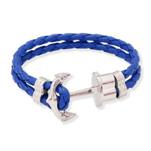 Fashion Jewelry Hand Woven Alloy Anchor Bracelet PU Leather Bracelet Women Casual Personality Vintage Punk Bracelets Men 1384(China (Mainland))