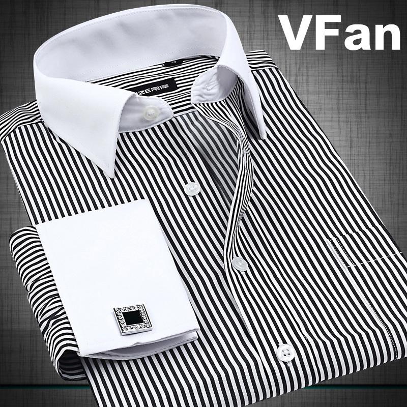 VFan French Cuff Button Men Dress Shirts 2014 New Winter Formal Brand Non Iron Luxury Long Sleeve Business Fashion Shirts E1246(China (Mainland))