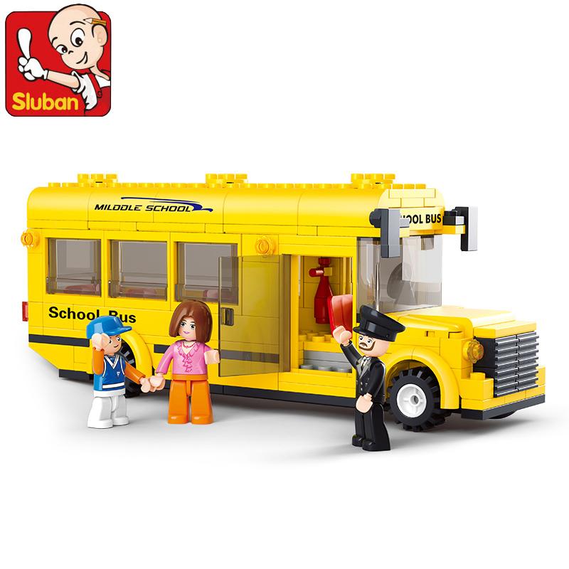 Sluban 0507 Block City School Bus Building Blocks 218pcs Yellow Truck Bricks Car Model Minifigures Building Toys Children Gifts(China (Mainland))