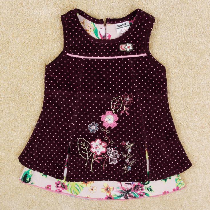 NOVA kids wear Baby girls dress Summer lovely floral dress for children girl 100% cotton girls clothing(China (Mainland))