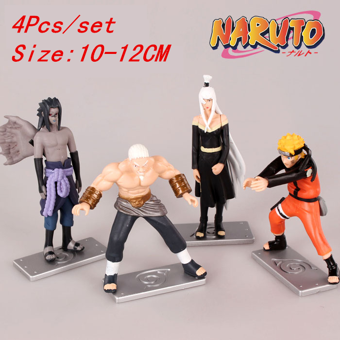 4PCS/Set Naruto Sasuke Fourth Raikage TerumiMei Orojimaru Action Figures Collection Minifigures Model Doll Toy Gifts #D(China (Mainland))