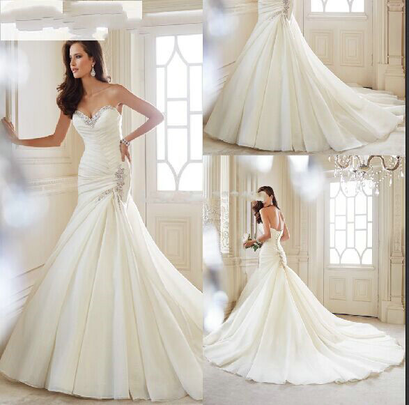 Criss cross pleated wedding gown strapless mermaid wedding for Strapless wedding dresses with long trains