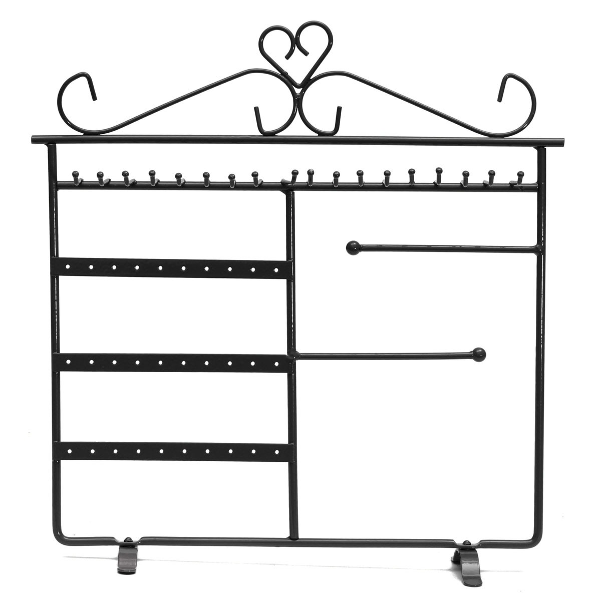 New Design Portable New Earring Necklace Jewelry Display Shelf Rack Hanging Holder Iron 36 Holes And 18 Hooks 4 Colors(China (Mainland))