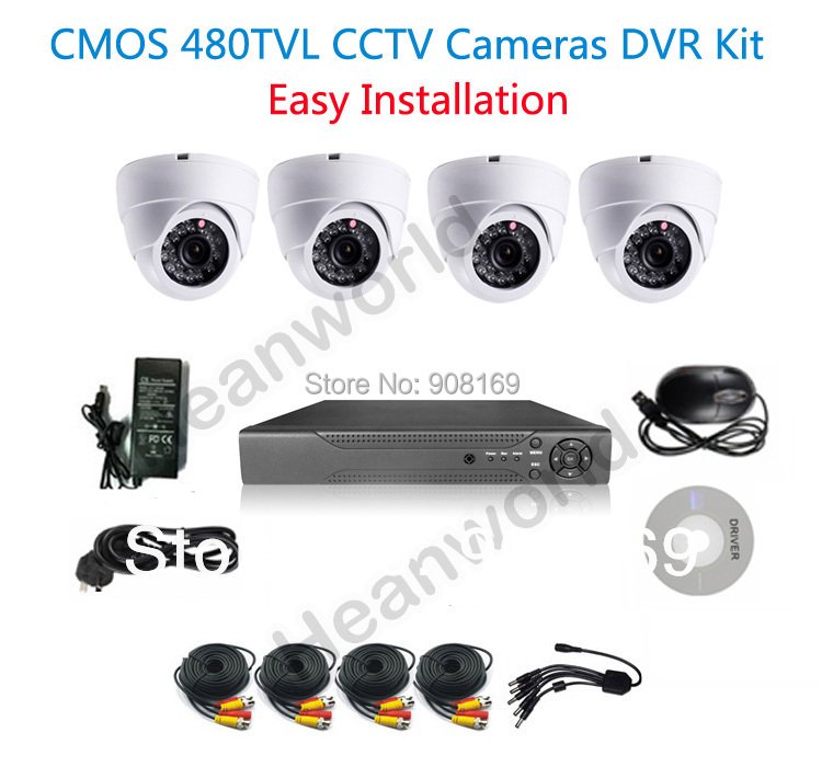 4CH  DVR Kit with 4 camera and all the cable  4ch CCTV System 4ch DVR Kit  4ch D1 DVR, Security Camera System<br><br>Aliexpress