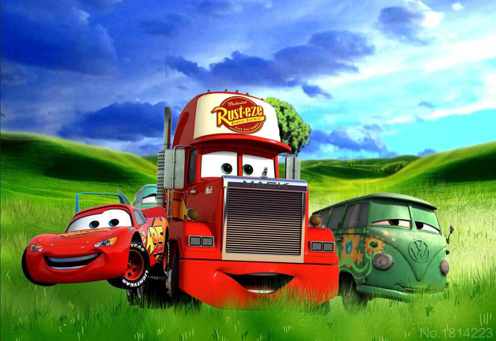 3x5FT Green Grass Field Hills Lighting Mcqueen Mater Truck Cars Custom Photography Backdrops Studio Backgrounds Vinyl 1x1.5m(China (Mainland))