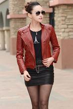 2016 Women Leather jacket Autumn Winter Female Fashion High Quality Faux Leather Jacket Ladies PU Leather Coat Black Red M-3XL(China (Mainland))