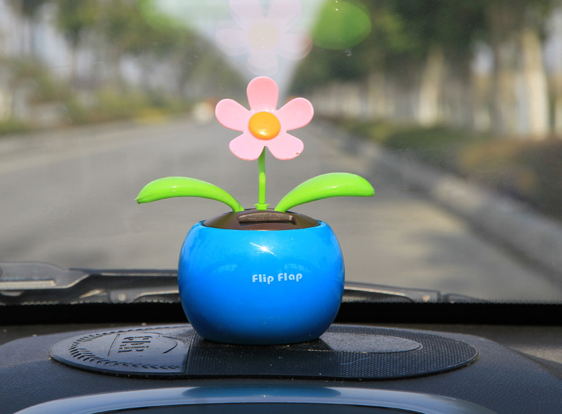Solar Powered Dancing Sunflower Flip Flap Toy Flower Bug Bobble Plant Pot Swing for Car inside Display(China (Mainland))
