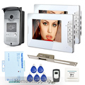 FREE SHIPPING 7 inch Video Intercom Door Phone System 2 White Monitors 1 RFID Access Reader