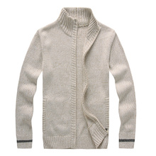 Autumn And Winter 2016 Men's Cardigans Sweaters Mandarin Stand Collar Male Wool Blending Warm Knitwear Overcoats Free Shipping(China (Mainland))