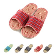 Summer Style Women Home Slippers Sandals Flat Cany Mat Linen Slipper Women's Ladies Indoor Floor Casual Plaid Cotton Shoes