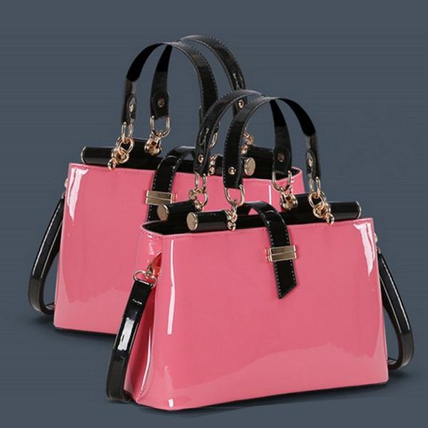 Freeship! 2015 New Fashion Noble Lady Pearl Shiny Double Layer Women Leather Handbag Lady Tote Handbag Messenger Bags(China (Mainland))