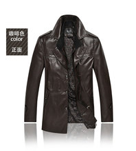 autumn and winter 2015 jacket men casual leather jacket men coat long paragraph men jacket free shipping c6h658(China (Mainland))